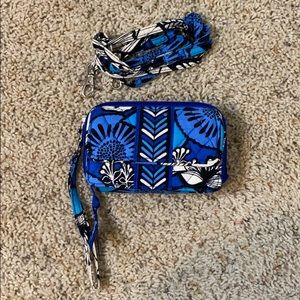 Blue smart phone wristlet/crossbody
